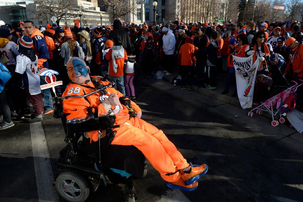 . DENVER, CO - February 09: Denver Broncos fanatic Richard Brunker awaits the start of the Denver Broncos Super Bowl 50 celebration at Civic Center Park February 07, 2016. (Photo by Andy Cross/The Denver Post)
