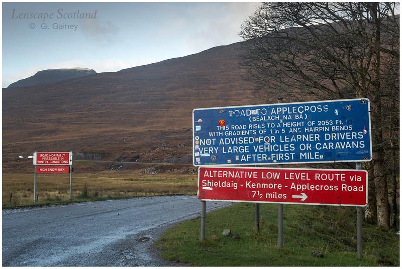 Warning signs at start of the Bealach na Ba road