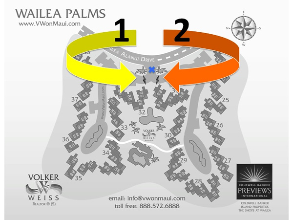 This horizontal black and white picture of the Wailea Palms Plat Map explains the location of the gates in this Wailea Condo. I created this map for a blog post in October 2009 when these gates were just newly installed. Here the link to this post:   http://www.vwonmaui.com/wp/866/long-awaited-new-gates-are-adding-to-the-difference-between-wailea-palms-and-the-palms-at-wailea.html