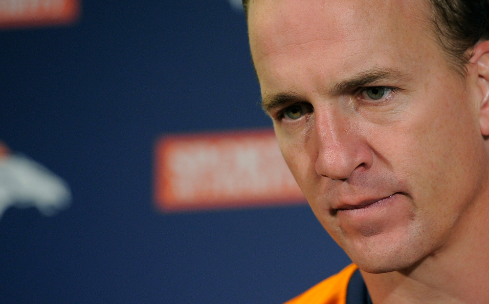 . Denver Broncos quarterback Peyton Manning (18) addresses the media after practice under the bubble Wednesday, December 19, 2012 at Dove Valley as they prepare for the Cleveland Browns.  John Leyba, The Denver Post