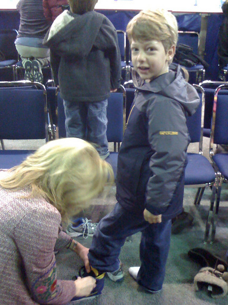 Just putting on the skates was an adventure.