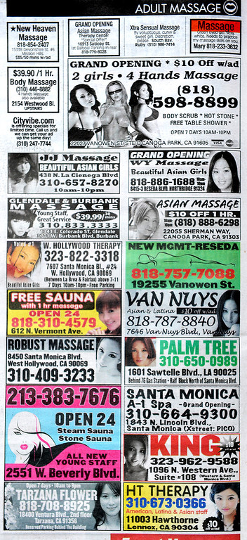 . Advertising in the LA Weekly for Massage businesses Thursday, April 17, 2014. (Photo by Walt Mancini/Pasadena Star-News)