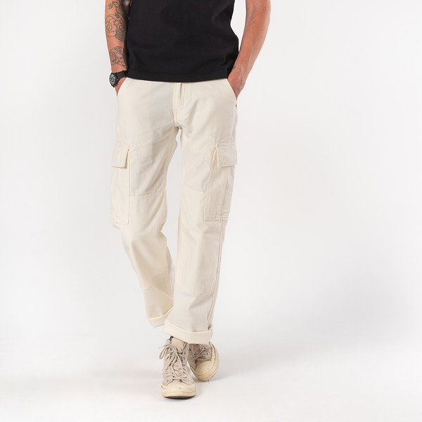 White 10.5oz Cotton Herringbone Cargo Pants--6.jpg