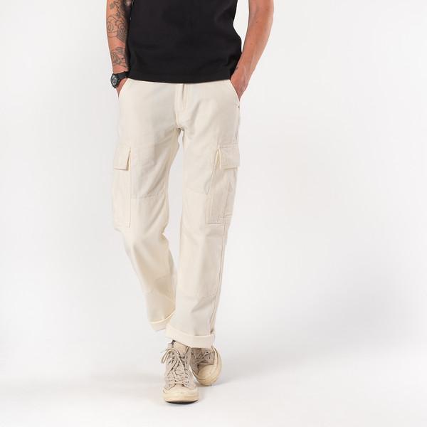 White 10.5oz Cotton Herringbone Cargo Pants--6.jpg