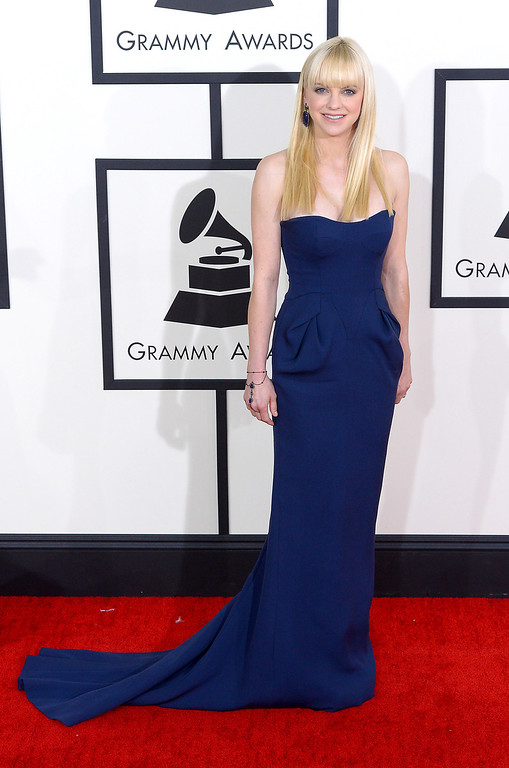 . Anna Faris arrives at the 56th Annual GRAMMY Awards at Staples Center in Los Angeles, California on Sunday January 26, 2014 (Photo by David Crane / Los Angeles Daily News)