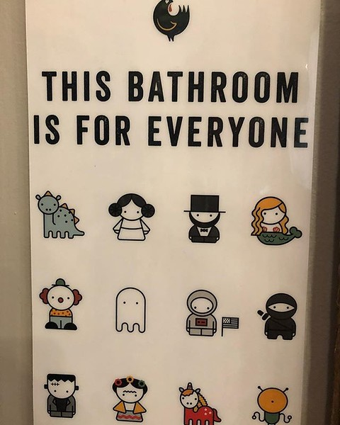 Ninjas, astronauts dinosaurs and Princess Lea all welcome to use the restrooms at @honeybutterchi