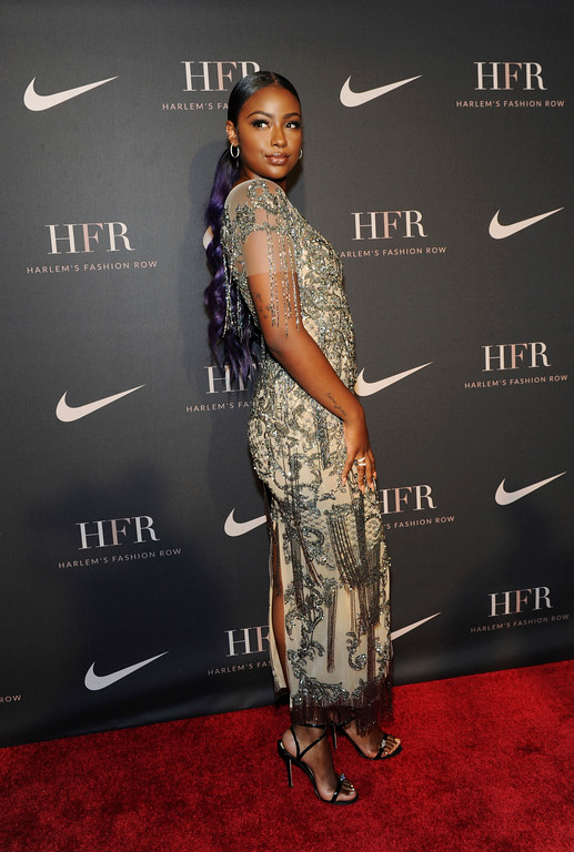 . Singer Justine Skye attends a fashion show and awards ceremony held by the Harlem Fashion Row collective and Nike before the start of New York Fashion Week, Tuesday, Sept. 4, 2018. (AP Photo/Diane Bondareff)