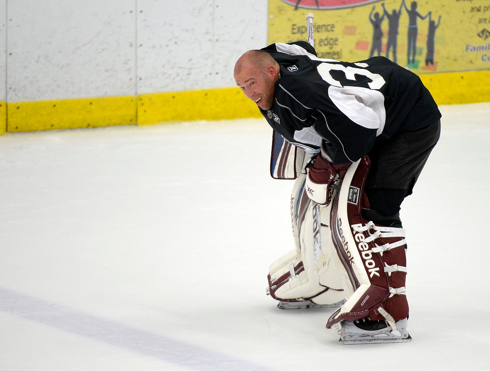 . Colorado Avalanche G J.S. Giguere (35) skates to the bench for a water break during practice September 9, 2013 at Family Sports Ice Arena. (Photo By John Leyba/The Denver Post)