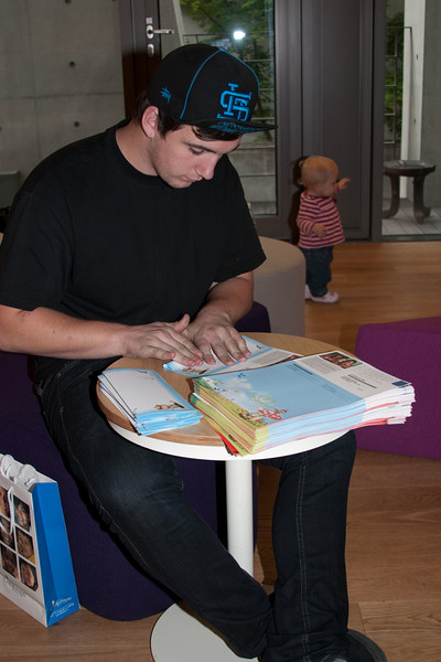 Folding letters at Compassion