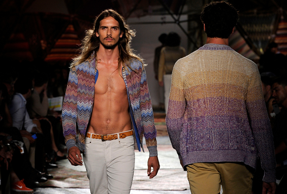 . A model wears a creation for Missoni men\'s Spring-Summer 2015 collection, part of the Milan Fashion Week, unveiled in Milan, Italy, Sunday, June 22, 2014. (AP Photo/Giuseppe Aresu)