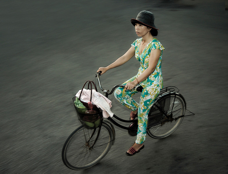 Office worker on her way to work