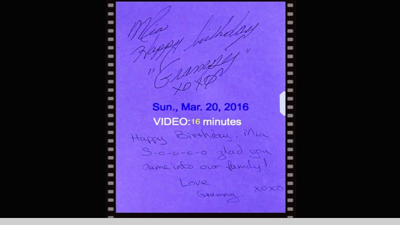 VIDEO:  16 minutes -- Mia's birthday party 03-20-2016