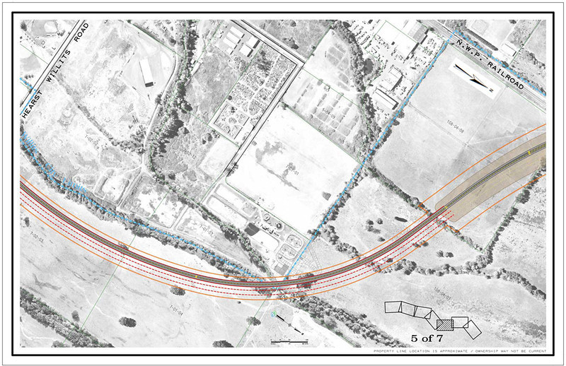 . CalTrans drawing showing the viaduct portion of Willits bypass project.