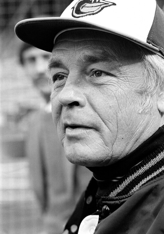 . In this Wednesday, Oct. 11, 1979 file photo, manager Earl Weaver speaks to reporters outside the Baltimore Orioles\' dugout just before the second game of World Series against Pittsburgh Pirates in Baltimore. Weaver, the Hall of Fame manager who won 1,480 games with the Baltimore Orioles died Jan. 19, 2013. He was 82. (AP Photo/File)