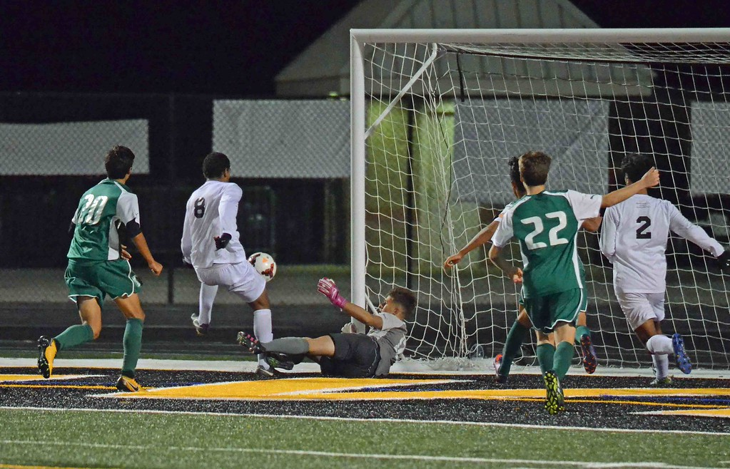 . Paul DiCicco - The News-Herald University\'s George Nageeb scores in the second half Oct. 28.