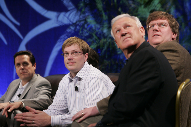 """CTO Design Challenge: """"And the Solution Is--"""": (L-R) Brian Higbee, Kelly Millsaps, Ty Carlson (leaning back), and Ron Roberts"""