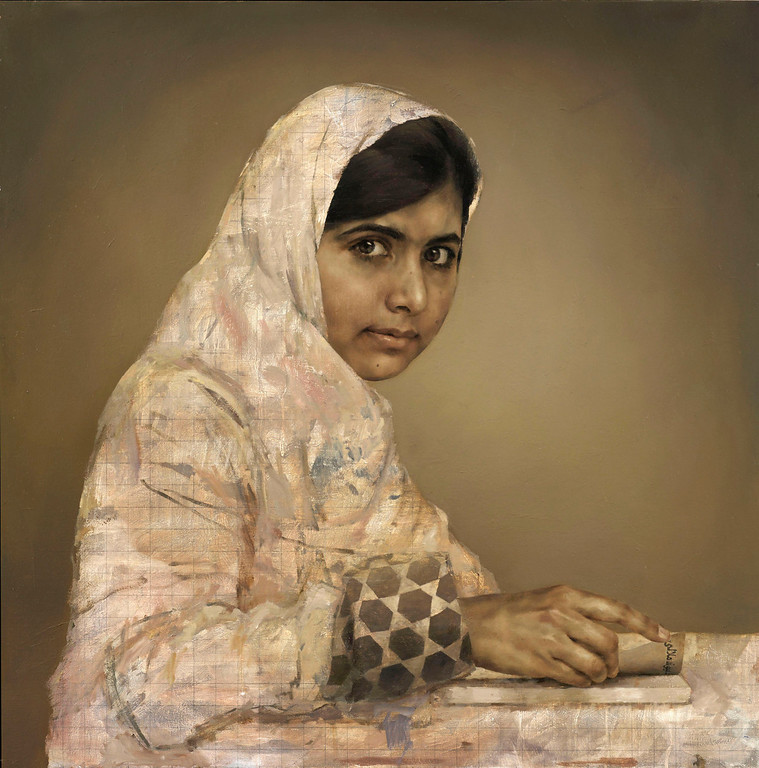 . A painting by artist Jonathan Yeo depicts the teenager education activist Malala Yousafzai, doing her homework. The artwork of Yousafzai went on display Wednesday Sept. 11, at the National Gallery in London, as part of a retrospective of the artist\'s works. Yousafzai, then 15 years old, was shot by the Taliban as she traveled to school in northwest Pakistan in October 2012, and was transferred to England for medical treatment and reconstructive surgery, where she was painted by Yeo just months after the attack. (AP Photo / Jonathan Yeo, British National Portrait Gallery)