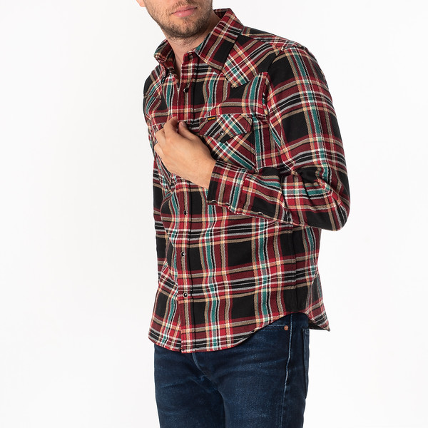 Black Crazy Check Ultra Heavy Flannel Western Shirt-1832.jpg