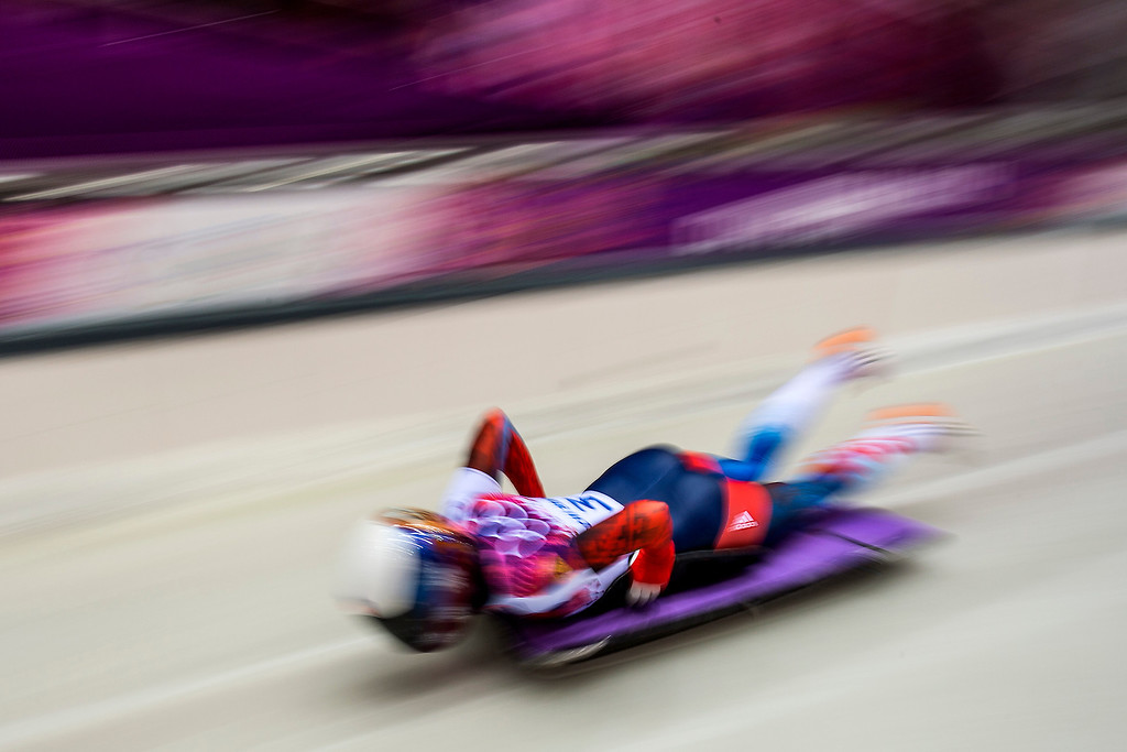 . Russia\'s Olga Potylitsina competes in the women\'s skeleton at the Sanki Sliding Center during the 2014 Sochi Olympics Thursday February 13, 2014. 