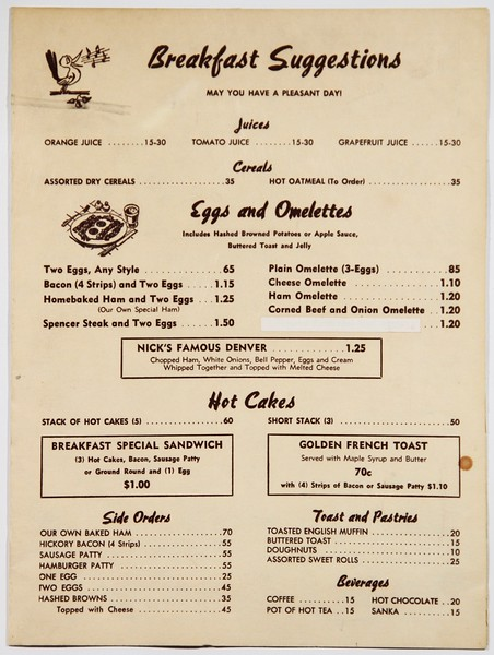 Old Breakfast Menu