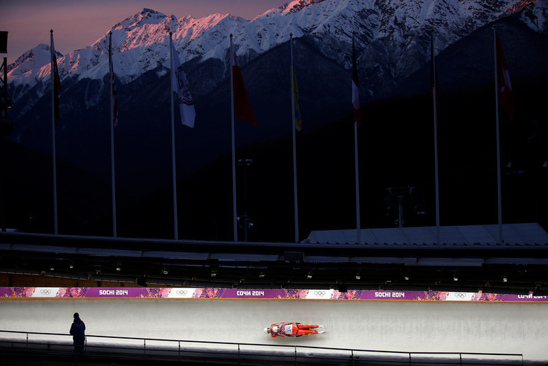 . The doubles team of Patryk Poreba and Karol Mikrut of Poland speed down the track in their first run during the men\'s doubles luge at the 2014 Winter Olympics, Wednesday, Feb. 12, 2014, in Krasnaya Polyana, Russia. (AP Photo/Michael Sohn)