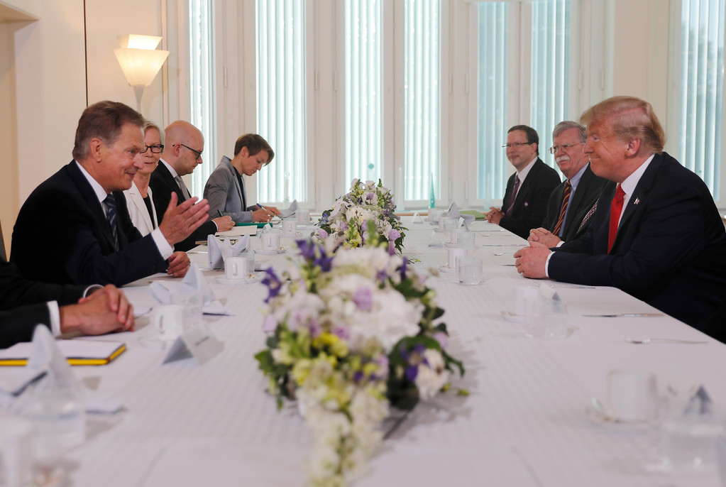 . Finnish President Sauli Niinisto, left, and U.S. President Donald Trump, right, sit down for a working breakfast at Niinisto\'s official residence in Helsinki, Finland, Monday, July 16, 2018 prior to his meeting with Russian President Vladimir Putin in the Finnish capital. (AP Photo/Pablo Martinez Monsivais)