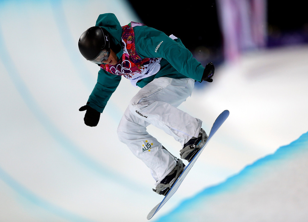 . Australia\'s Nathan Johnstone competes during the men\'s snowboard halfpipe semifinal at the Rosa Khutor Extreme Park, at the 2014 Winter Olympics, Tuesday, Feb. 11, 2014, in Krasnaya Polyana, Russia.(AP Photo/Sergei Grits)