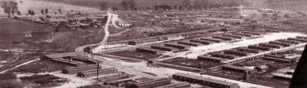 Majdanek from the air...the gas chambers can easily be seen centre left..the womens and mens showers were linked via a covered walkway.