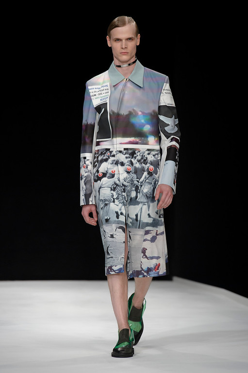 . A model wears a creation by designer Xander Zhou during London Men\'s spring summer fashion collections 2014, in London, Tuesday, June 18, 2013. (Photo by Jonathan Short/Invision/AP)