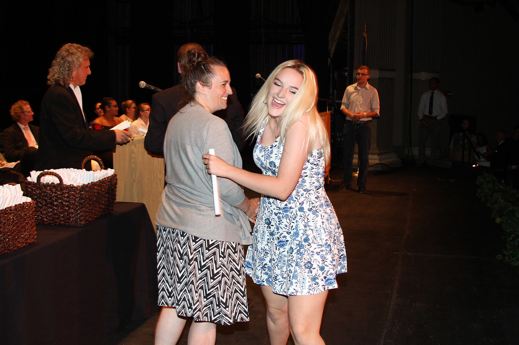 . Ulster BOCES Nurse Assistant and Saugerties Central School District student Shaylee Auchmoedy receives hug and her certificate at the Career & Technical Center�s Achievement Ceremony.