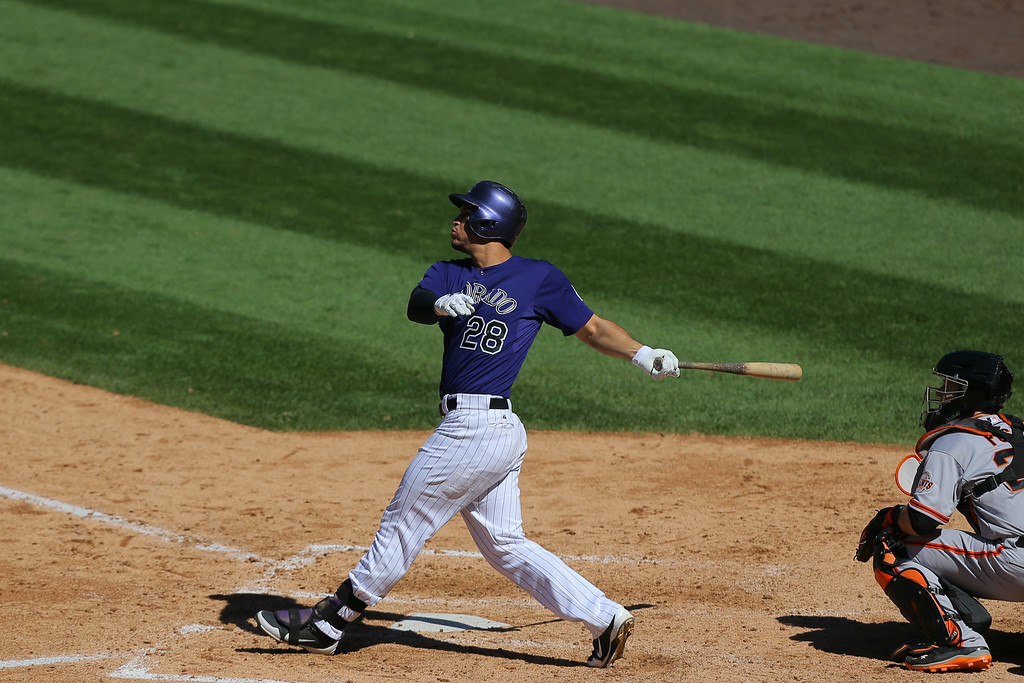 . DENVER, CO - SEPTEMBER 3:  Nolan Arenado #28 of the Colorado Rockies watches his three run home run during the fifth inning against the San Francisco Giants at Coors Field on September 3, 2014 in Denver, Colorado. (Photo by Justin Edmonds/Getty Images)
