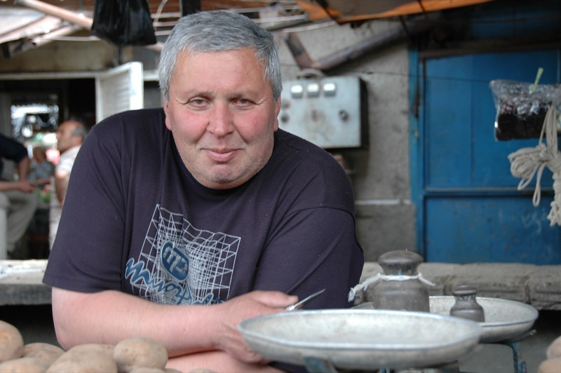 Potato Vendor at Telavi Market - Kakheti, Georgia
