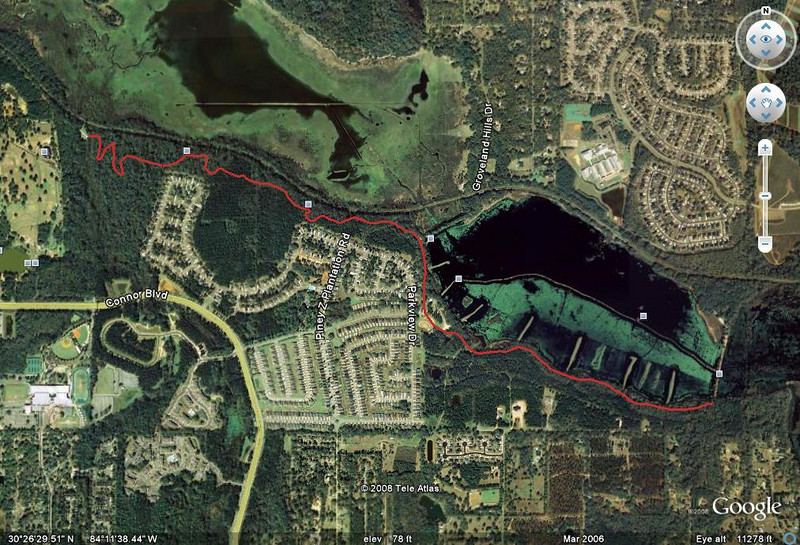 From this GPS track, loaded into Google Earth and saved as jpg.. Start in Tom Brown Park (upper left) at the west end of the Conner Creek bridge, finish (lower right) at the base of Cadillac Trail's Hill of Death, south end of the Piney Z East Levee. Actual distance 4.50Km/2.80M.