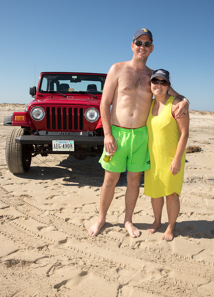 Kristine and Andy in front of jeep on beach.jpg