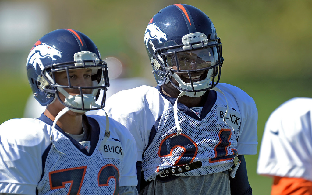 . Denver Broncos cornerback Champ Bailey (24) smiles during practice October 2, 2013 at Dove Valley. (Photo by John Leyba/The Denver Post)