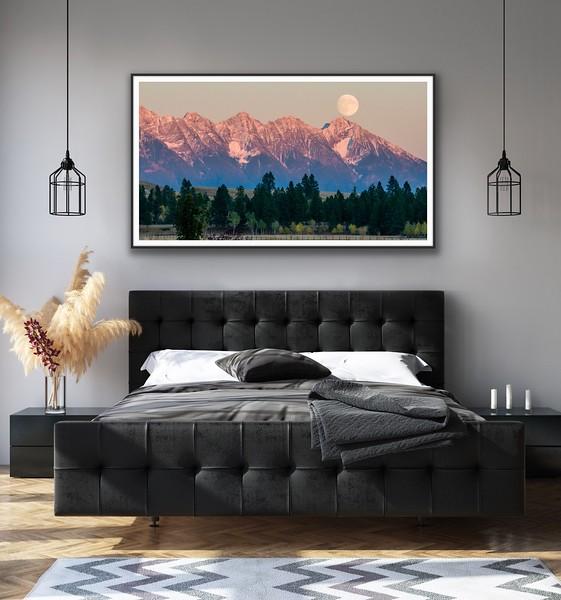 'Steeples Moon Rise' Canvas Wrap, Float Mount Metal Print or Fine Art Print (as pictured, framed) Framed/Unframed