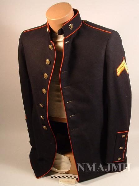 Jacob Joseph Mirsky's WWII USMC Dress Blues Jacket with Corporal Stripes