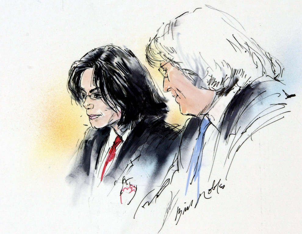. In this courtroom sketch pop star Michael Jackson , left, listens to his attorney Thomas Mesereau Jr., during his arraignment of child molestation charges at a courthouse in Santa Maria, Calif., Friday, April 30, 2004. (AP Photo/Bill Robles)