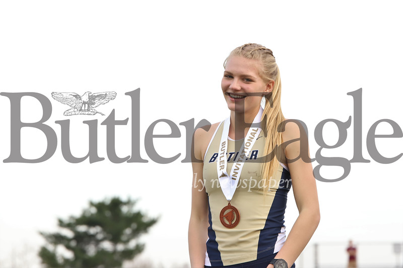 Butler's Liz Sims smiles after taking bronze in the 400m Thursday. Seb Foltz/Butler Eagle