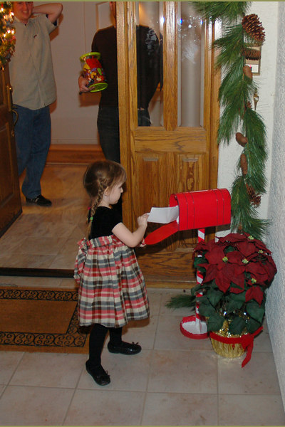 This is the magical mailbox, where Santa can send and receive letters.  Ainsley wrote him a thank-you letter on Christmas night.