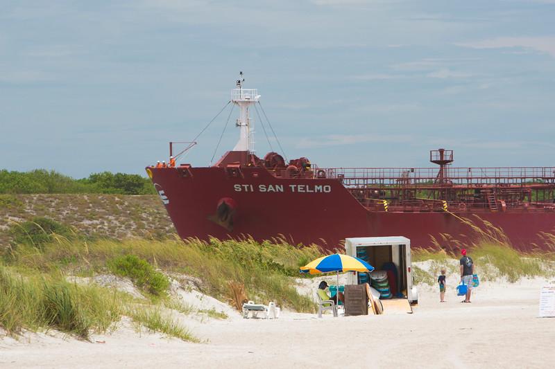 Cargo ship entering Port Canaveral