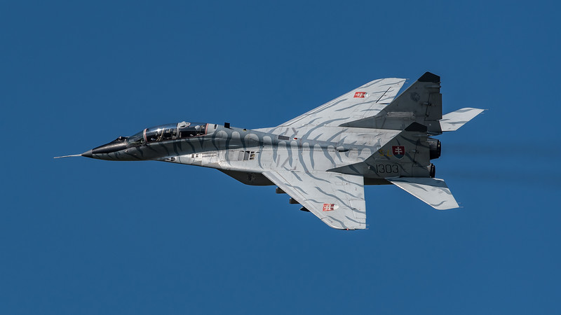 Slovak Air Force / Mikoyan-Gurevich MiG-29 UBS / 1303 / Tiger Livery