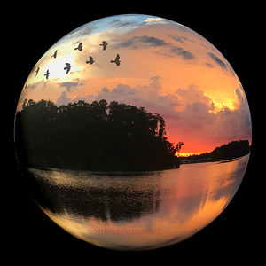 DIGITAL CREATIVE-GOLD-SUNSET REFLECTIONS GLOBE-ROBERT MILLER