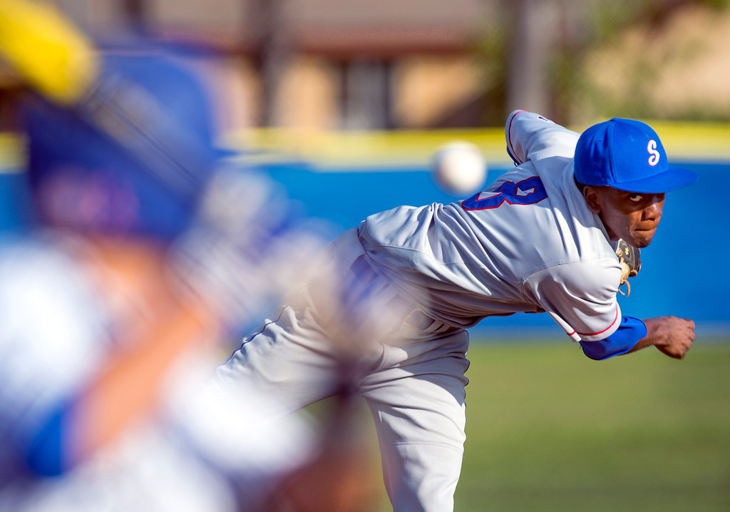 . Serra High relief pitcher Marcus Wilson Bishop Amat at Amat\'s La Puente, Calif. campus field April 16, 2014.  (Staff photo by Leo Jarzomb/San Gabriel Valley Tribune)
