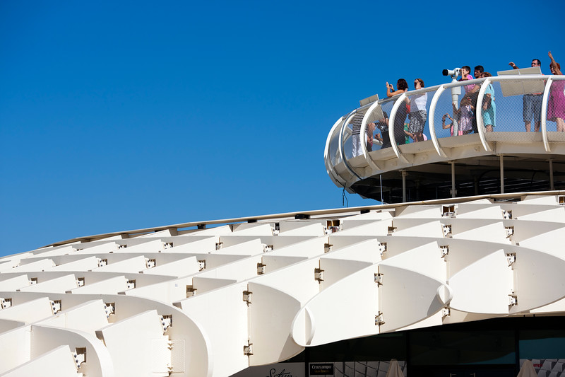 Visitors on the top of Metropol Parasol, Seville, Spain