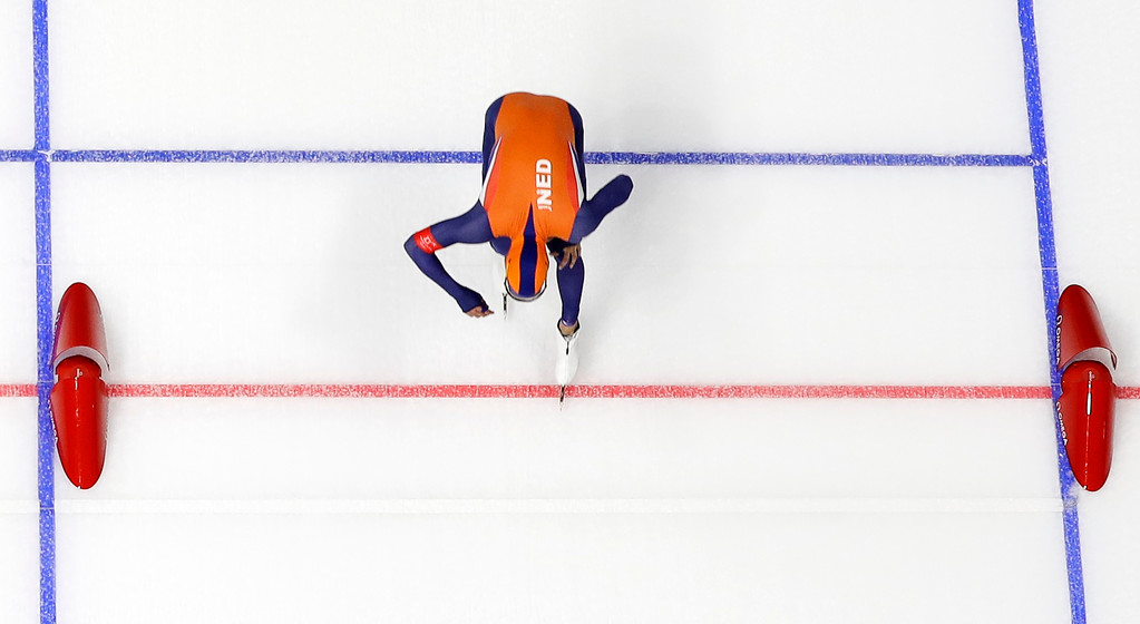 . Gold medalist Kjeld Nuis of The Netherlands pushes his skate over the finish line of the men\'s 1,500 meters speedskating race at the Gangneung Oval at the 2018 Winter Olympics in Gangneung, South Korea, Tuesday, Feb. 13, 2018. (AP Photo/Eugene Hoshiko)