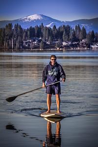 Stand up paddle below Mount Spokane, Liberty Lake, Washington