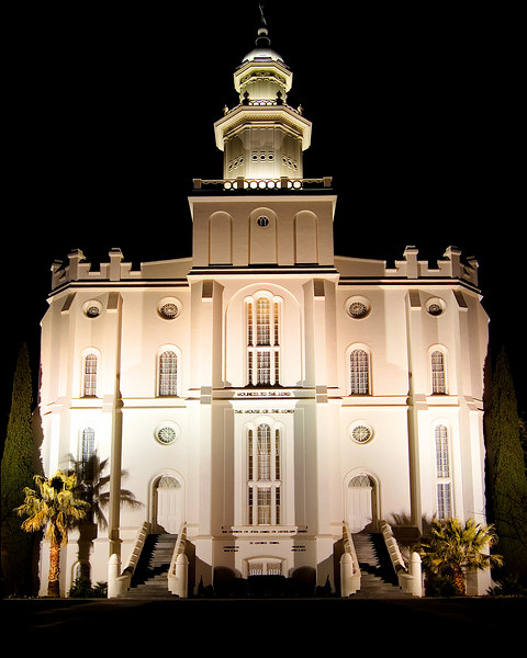 The St. George temple is actually the first and oldest operating temple in modern times, made of sandstone plastered white.  It is also one of only nine temples without a statue of the angel Moroni (as is the Cardston Alberta temple).