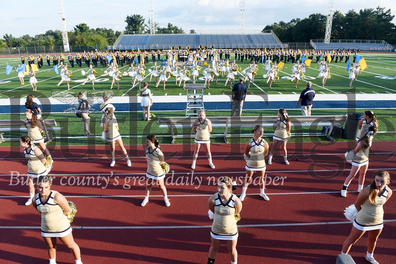 Harold Aughton/Butler Eagle: The Butler High School Marching Band performs their half-time show doning their new uniforms Wednesday, August 21.