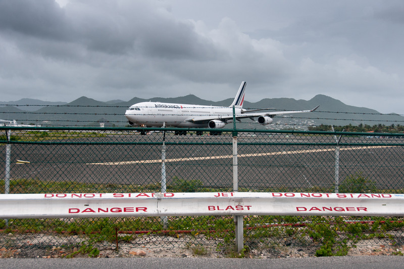 Airplane preparing for departure from Princess Juliana International Airport in St. Martin